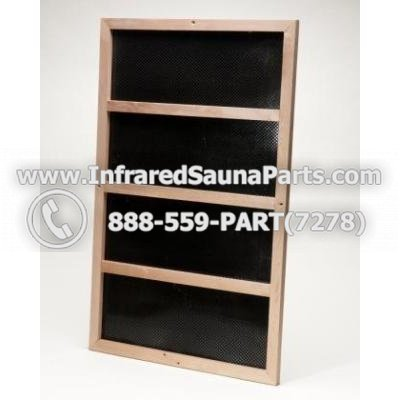 """CARBON HEATERS WITH WOOD TRIM 220V / 240V - INFRARED SAUNA CARBON HEATERS WITH WOOD TRIM 120 WATTS ( 31"""" x 11"""") - 220V / 240V 1"""