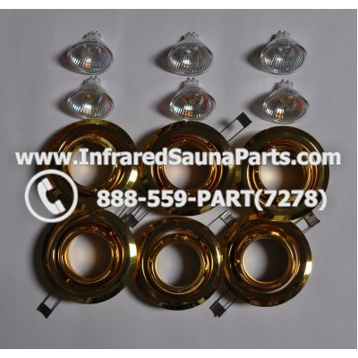COMPLETE LIGHT ASSEMBLY 110V / 120V - COMPLETE LIGHT ASSEMBLY 6 HOUSING IN GOLD FINISH WITH 6 BULBS 110V / 120V 1
