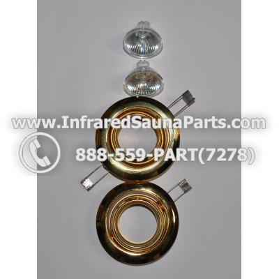 COMPLETE LIGHT ASSEMBLY 220V / 240V - COMPLETE LIGHT ASSEMBLY 2 HOUSING IN GOLD FINISH WITH 2 BULBS 220V / 240V 1