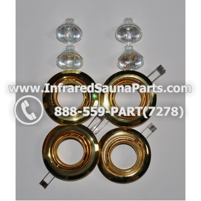 COMPLETE LIGHT ASSEMBLY 12V - COMPLETE LIGHT ASSEMBLY 4 HOUSING IN GOLD FINISH WITH 4 BULBS 12V 1